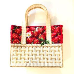 Needlepoint Plastic Canvas Strawberry Purse Bag